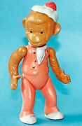 Vintage Soviet Ussr Celluloid Jointed Circus Monkey Toy Doll - 1950's