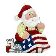 Midwest Of Cannon Falls Santa Sewing Flag 3 Ornament Cat Christmas Eddie Walker