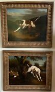 2 Vintage Signed Oil On Panel Paintings Hunting Dogs Samuel Giles
