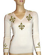 Luxe Oh` Dor 100 Cashmere Sweater V-neck White Champagne Gold Size 48 Xl