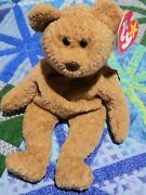 Ty Beanie Babies Curly The Bear Plush - 4052 Retired Nose/swing/tush Tag Errors