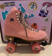 New Moxi Lolly Suede Discontinued Pink Strawberry Roller Skates 9 Fits 10-11