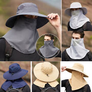 Outdoor Uv Protection Sun Hat Mask Neck Earflap Wide Brim Cap For Fishing Hiking