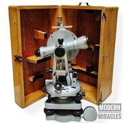 Brass Theodolite 20 Seconds With Wood Box Transit Alidade Surveying Instrument
