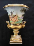 Antique 19th Century Russian Porcelain Hand Painted Gilded Vase/urn