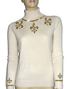 Luxe Oh` Dor 100 Cashmere Sweater Pearl White Champagne Gold 34/36 Xs/s