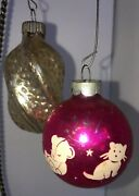 2 Vintage Ornaments- Bright Pink Ball W/ Cat, Bear And Duck And Silver Shiny Bright