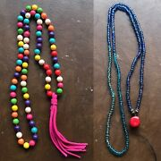 2 Colorful Beaded Necklaces Prayer Beads Layering Mala Necklaces Bead Meditation