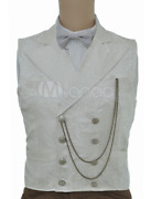 Vintage Steampunk Waistcoat White Double Breasted Pocket Watch Chain New Size L