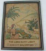 Vintage Handmade Embroidery Cross Stitch Sampler The Lord Is My Light