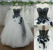 Vintage Wedding Dresses Lace Black And White Bridal Gowns Strapless Plus Custom