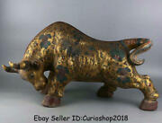 26.8 Old Chinese Tang Sancai Pottery Painting Gilt Folk Bull Oxen Cattle Statue