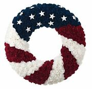 Patriotic Red White And Blue Silk Rose American Flag Door Wreath - 4th Of