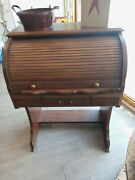 Small Vintage Roll Top Desk - Maple Wood Student Type Desk