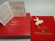 Signed Kjl Kenneth Jay Lane When Pigs Fly Flying Pig Pin Brooch In Pouch W/box