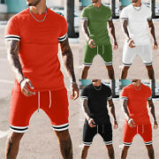 Menand039s Summer Short Sleeve T-shirts Tops Shorts Set Running Fitness Sports Outfit