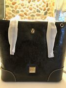 Disney Dooney And Bourke Black Embossed Sketch Icon Leather Tote Nwt