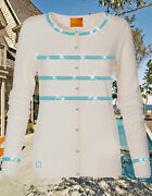 Luxe Oh` Dor 100 Cashmere Knit Cardigan Hamptons Luxe White Turquoise 48 Xl Xxl