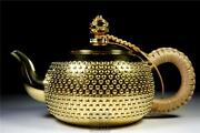 Sterling Silver Gold-plated Teapot Ginbin Japanese Antique 265g