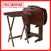 Walnut Finish 5pc. Wooden Snack Table Set Folding Portable Stand Tv Dinner New