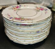 Handc Selb Bavaria Heinrich And Co China Bread Plates Pink Roses Gold Rim 10 Pcs 6