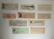 Lot Of 10 Antique Western Wild West Bank Checks Tombstone Arizona Famous Folks