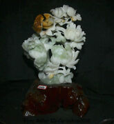 17.2chinese Natural Xiu Jade Jadeite Carved Feng Shui Flower Birds Lucky Statue