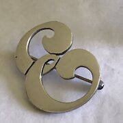 Chicago Arts Crafts Kalo Sterling Silver Handwrought Initial E Brooch Pin Signed