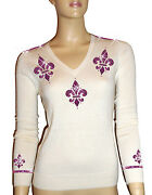 Luxe Oh` Dor 100 Cashmere Sweater V-neck White Pink Size 34 Xs/s