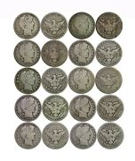 1900and039s 10 Coin Lot 50c Barber Silver Half Dollars Mixed Common Dates Good 01