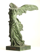 Victoire De Samothrace Winged Victory Patinated Bronze Statue Figurine 26 Inches