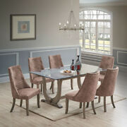 Kings Brand - Elmer 7 Piece Glass Dining Set, Table And 6 Chairs, Gray/dark Brown