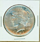 1921 Peace Dollar High Relief Bright White Luster Very Mark Free - One Year Type