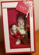 Lenox Christmas Ornament Happy Holly Days Snowman With Wreath 3 1/2 Mint In Box
