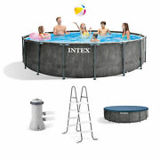 💦 Intex Prism Steel Frame Above Swimming Pool Set With Cover Ladder And Pump