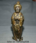 10.8china Hetian Old Jade Gilt Tang Dynasty Classical Beauty Belle Woman Statue