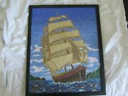 Early European Ship Sand Painting With Wire--one Of A Kind Artwork