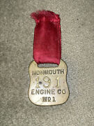 Antique Fireman Firefighting Rescue Monmouth Engine Co. Guest Ribbon Medal No 1.