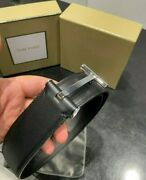 Tom Ford Silver T Buckle Belt Size 95cm/38 32-34 Waist , Authentic