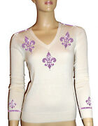 Luxe Oh` Dor 100 Cashmere Sweater V-neck White Amethyst Purple Size 48 Xl