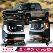 16-19 For Chevy Silverado 1500 Black Projector Headlights Led Drl Pair Set