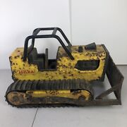 Vintage Tonka Toys T-6 Bulldozer With Roll Bar 9 Long 1980 Tractor Loader Truck