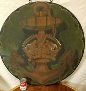 Huge Antique Wood Hand Painted Double Sided Anchor And Crown Sign Marine
