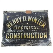 Antique Glass Reverse Painted American Trade Sign Henry O Winter Electrical