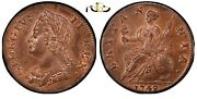 1749 Great Britain Halfpenny Pcgs Ms64 Rb