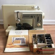 Singer Touch And Sew Sewing Machine Model 648 With Case, Cams And Accessories