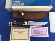 Schrade Uncle Henry Usa 153uh Golden Spike Fixed Blade Knife Vintage Old Stock