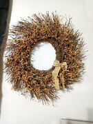 Primitive Country Wreath With Homespun Cloth Bow