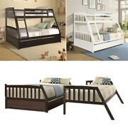 Solid Wood Twin Over Full Bunk Bed With Ladder Guardrail Two Storage Drawers