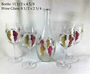Vintage Optic Etched Grape And Leaf Design W/ Bottle And Tall Wine Glass Set Of 4